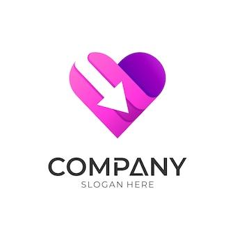 Hart en pijl logo concept