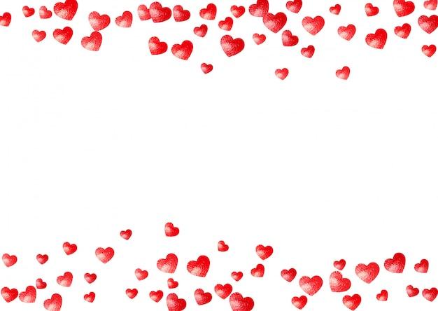 Hart frame achtergrond met gouden glitter harten. valentijnsdag. vector confetti. hand getrokken textuur.