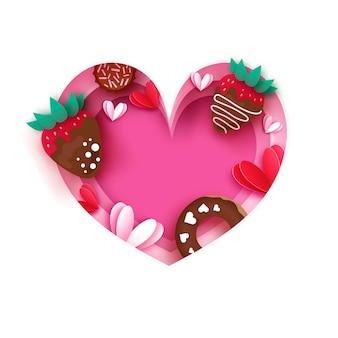Hart frame. houd van aardbei en chocolade, donut. valentijnsdag wenskaart.