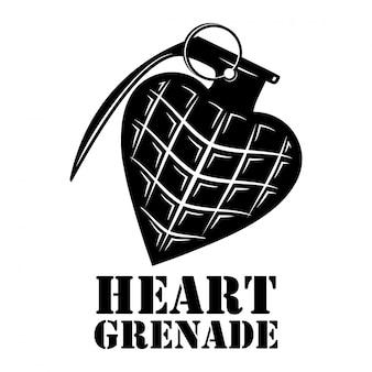 Hart granaat sjabloon logo