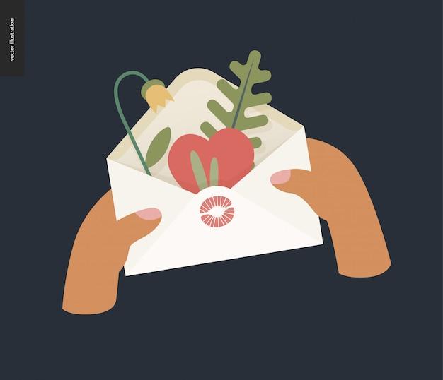 Hart in de envelop valentine