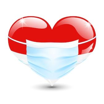 Hart in de vlagkleuren van indonesië of monaco met een medisch masker voor bescherming tegen coronavirus
