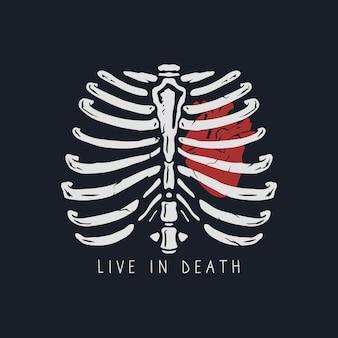 Hart in een rib hand getekende illustratie