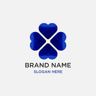 Hart liefde logo ontwerpsjabloon