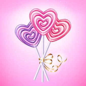 Hart lollipop vectorillustratie. zoet spiraalvormig suikergoed op stok met gouden lint en boog. liefdes symbool.