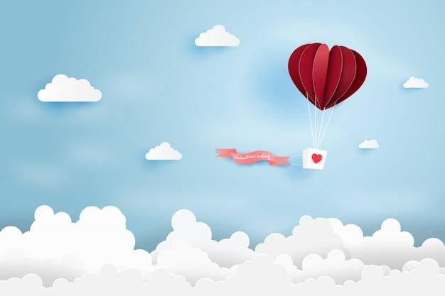 Hart lucht ballon gemaakt origami zweven over blauwe hemel