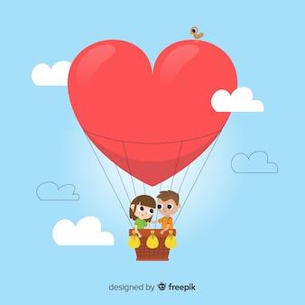 Hart luchtballon achtergrond