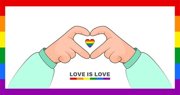Hart maken met handen klein hartje met een lgbt-regenboogvlagachtergrond