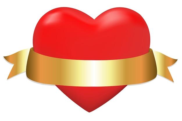 Hart met gouden lint