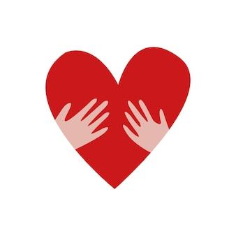 Hart met handen symbool van liefdadigheid filantropie cardiologie sociale bijstand valentijnsdag