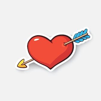 Hart met pijl valentijnsdag symbool ik hou van je vectorillustratie