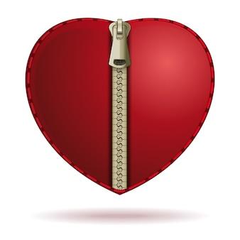 Hart met rits. valentine romantisch pictogram concept. illustratie geïsoleerd op een witte achtergrond