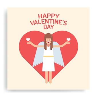 Hart met schattige engel binnen valentijnsdag kaart