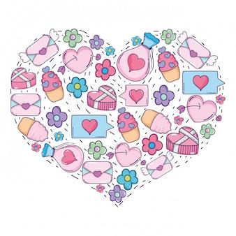 Hart met valentijnsdag pictogrammen