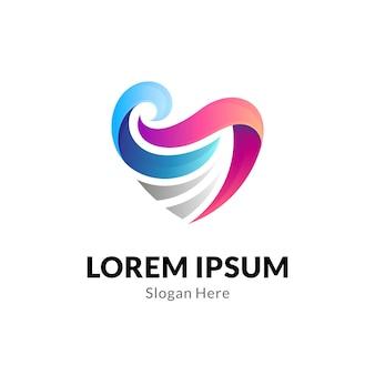Hart of liefde logo concept met golfcombinatie
