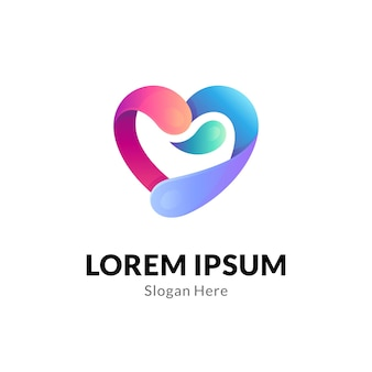 Hart of liefde logo concept met water splash combinatie