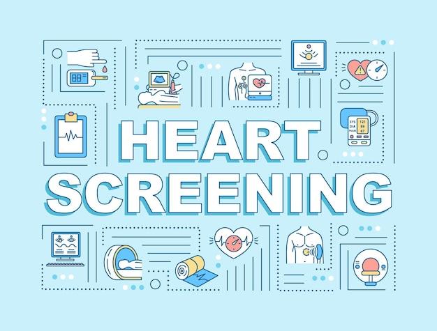 Hart screening woord concepten banner. medische controle. preventie van hartziekten. infographics met lineaire pictogrammen op lichtblauwe achtergrond. geïsoleerde typografie. vector overzicht rgb-kleurenillustratie