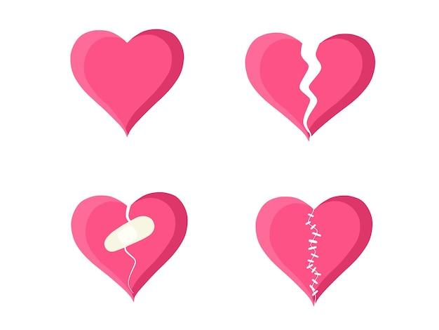 Hart set gebroken hart en spleet gerepareerd met verband