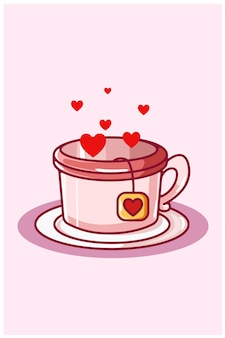 Hart thee cartoon kawaii illustratie valentijn dag