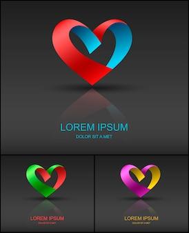 Hart valentine lint logo ontwerpsjabloon