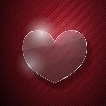 Hart van glas op rood gestreepte achtergrond