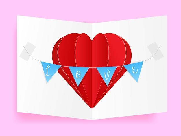 Hart van liefde valentijn wenskaart, papieren vaartuig van hartvorm en vlag met liefdesbrieven