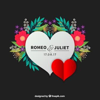 Hart van romeo en julieta met bloemen achtergrond
