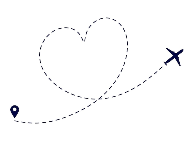 Hart vliegtuig route. liefde vliegtuig pad. vliegtuig vliegende bestemming. mooie romantische reizende huwelijksreis. gestippelde vluchtweg