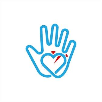 Hart zorg logo vector ontwerpsjabloon
