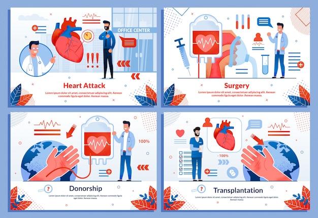Hartaanval hart- en vaatziekten banner set Premium Vector