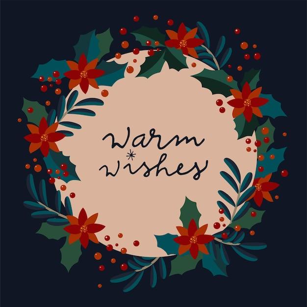 Hartelijke wensen. vintage wintervakantie kalligrafische kaart. merry christmas vintage artistieke wenskaart in vector