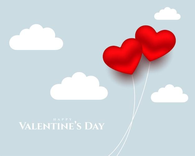 Harten ballonnen en wolken voor valentijnsdag
