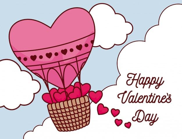 Harten binnen hete luchtballon van valentijnsdag