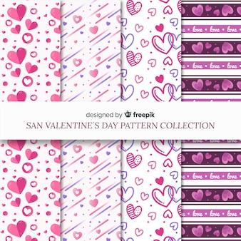 Harten en lijnen valentijn patroon pack
