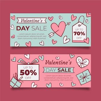 Harten en verpakte geschenken valentijnsdag banner
