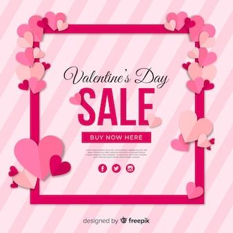Harten frame valentijn verkoop achtergrond