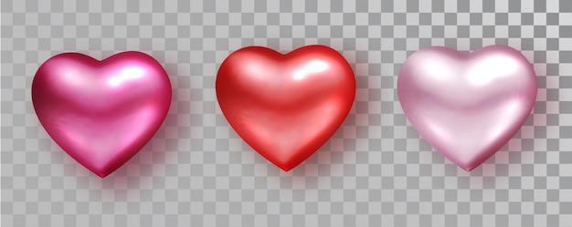 Harten instellen tinten voor valentijnsdag ontwerp geïsoleerd op transparant