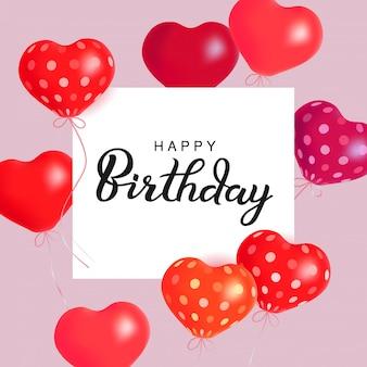 Harten luchtballonnen. gelukkige verjaardag illustratie van stijgende ballon harten