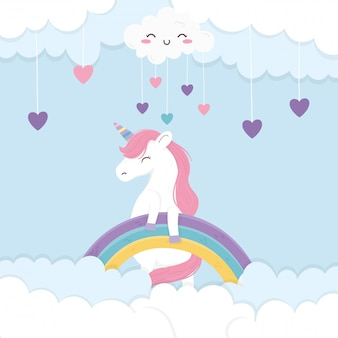 Harten regenboog eenhoorn fantasie magische cartoon