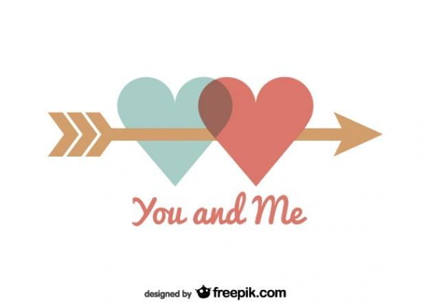 Harten verenigd door pijl valentijnsdag kaart