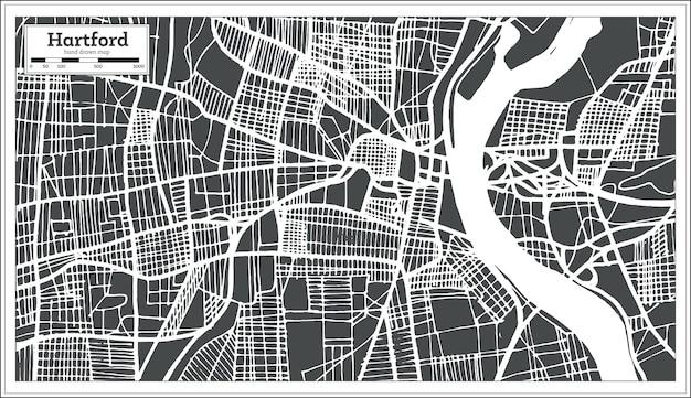 Hartford usa stadsplattegrond in retro stijl. overzicht kaart. vectorillustratie.