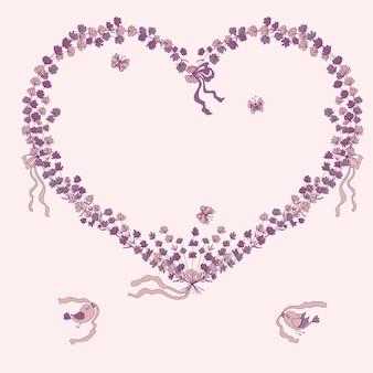 Hartillustratie met lavendel, vogels en plaats voor uw tekst.
