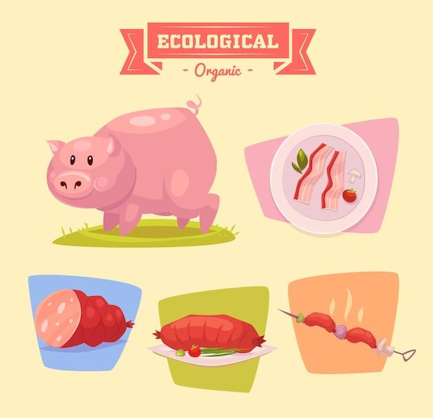 Hartje boerderijdier. illustratie van geïsoleerde boerderijdieren die op gekleurde achtergrond worden geplaatst. vlakke afbeelding.