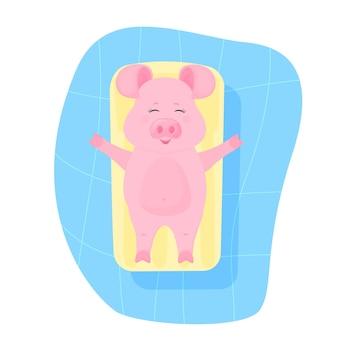 Hartje op zomervakantie zwemt en zonnebaadt op een opblaasbare watermatras in het zwembad. grappig dier. piggy stripfiguur. het symbool van het chinese nieuwjaar 2019.