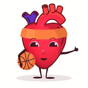 Hartkarakter met basketbalbal, trainingsconcept voor de gezondheidszorg, sterk hartorgel, gezonde levensstijl, sporttraining in de sportschool. vector