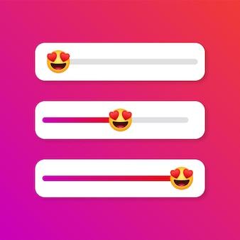 Hartogen emoji-schuifregelaar of liefdesniveauschaal voor instagram-verhalen sociale media-emoji's