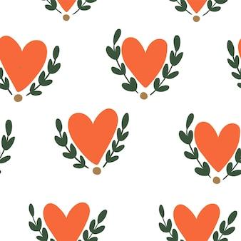 Hartpatroon, vector naadloze achtergrond. kan worden gebruikt voor huwelijksuitnodiging, kaart voor valentijnsdag of kaart over liefde.