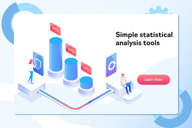 Сharts en het analyseren van het concept van de de gegevensvisualisatie van statistieken