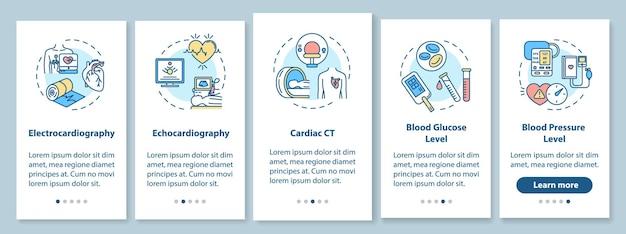 Hartscreening onboarding mobiele app paginascherm met concepten. glucose niveau bloed testen walkthrough 5 stappen grafische instructies. ui-vectorsjabloon met rgb-kleurenillustraties