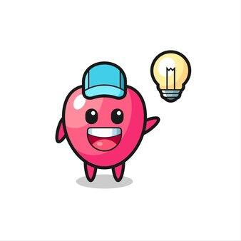 Hartsymbool karakter cartoon krijgt het idee, schattig stijlontwerp voor t-shirt, sticker, logo-element